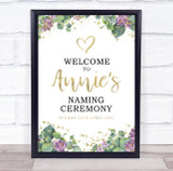 Purple Floral & Gold Naming Ceremony Personalised Event Party Decoration Sign