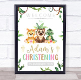 Jungle Baby Animals Name & Date Christening Personalised Event Party Sign