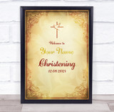 Old Style Welcome To Christening Personalised Event Party Decoration Sign