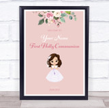 Brown Haired Girl First Holy Communion Personalised Event Party Decoration Sign