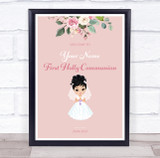 Dark Hair Girl First Holy Communion Personalised Event Party Decoration Sign