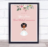Dark Skin Girl First Holy Communion Personalised Event Party Decoration Sign