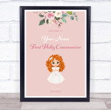 Red Hair Girl First Holy Communion Personalised Event Party Decoration Sign