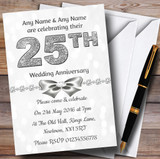 White Bokeh & Silver Glitter Look 25Th Customised Anniversary Party Invitations