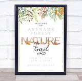Nature Trail Gold Watercolour Leaves Outdoor Trail Personalised Event Party Sign