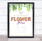 Flower Show Event Floral Letters & Gold Personalised Event Party Decoration Sign