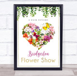 Flower Show Event Floral Heart Personalised Event Occasion Party Decoration Sign