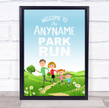 Park Run Event Cartoon Family Running Personalised Event Party Decoration Sign