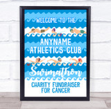 Swimathon Charity Swimming Fundraiser Personalised Event Party Decoration Sign