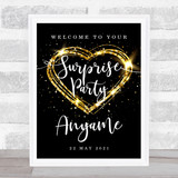 Surprise Name & Date Sparkle Heart Personalised Event Party Decoration Sign