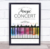 Live Music Concert Welcome Watercolour Piano Personalised Event Party Sign