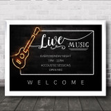 Live Music Acoustic Open Mic Sessions Guitar Personalised Event Party Sign
