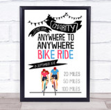 Charity Bike ride Event Miles & Location Personalised Event Party Sign
