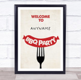 BBQ Red Sausage Personalised Event Occasion Party Decoration Sign