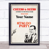 Retro Man Cheers And Beers Welcome Stag Personalised Event Party Decoration Sign