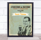 Vintage CheersBeers Welcome To Any Name Stag Do Rustic Personalised Party Sign