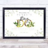 Stag Do Gold & Vine Leaves Personalised Event Occasion Party Decoration Sign