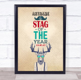 Stag Of The Year Hipster Stag Do Personalised Event Party Decoration Sign