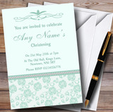 Pretty Mint Green & Sage Floral Diamante Customised Christening Invitations