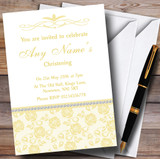 Pretty Pale Yellow Floral Diamante Customised Christening Invitations