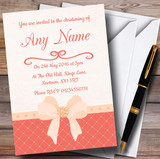Quilted Look Coral Bow Customised Christening Invitations