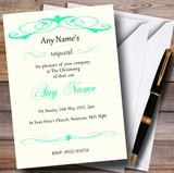 Elegant Green Swirl Christening Party Customised Invitations