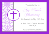 Purple Princess Crown White Christening Party Customised Invitations