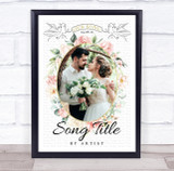 Floral Oval Photo Wedding First Dance Any Song Lyric Wall Art Print