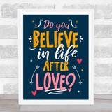 Cher Believe Navy Typography Music Song Lyric Wall Art Print