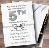 White Bokeh & Silver Glitter Look 5Th Customised Anniversary Party Invitations