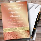 Peach Coral Damask Wedding Anniversary Party Customised Invitations