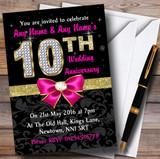 Pink Black Gold Diamond Wedding Anniversary Party Customised Invitations