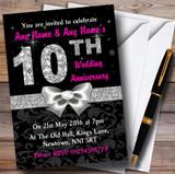 Pink Black Silver Diamond Wedding Anniversary Party Customised Invitations
