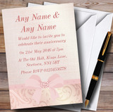 Pretty Pale Coral Pink Damask Bow Wedding Anniversary Party Customised Invitations