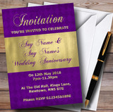 Purple And Glitter Look Gold Wedding Anniversary Party Customised Invitations