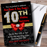 Red Black Gold Diamond Wedding Anniversary Party Customised Invitations