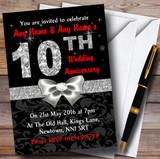 Red Black Silver Diamond Wedding Anniversary Party Customised Invitations