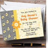 Bumble Bee Yellow Grey Baby Shower Party Customised Invitations