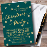 Golden Snowflakes & Deep Teal Customised Christmas Party Invitations