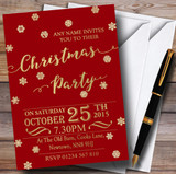 Golden Snowflakes & Red Customised Christmas Party Invitations