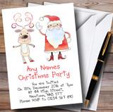 Santa & Rudolph Customised Christmas Party Invitations