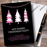 Xmas Trees Black & Pink Customised Christmas Party Invitations