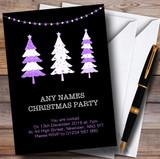 Xmas Trees Black & Purple Customised Christmas Party Invitations