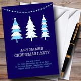Xmas Trees Blue Customised Christmas Party Invitations
