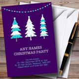 Xmas Trees Purple Customised Christmas Party Invitations
