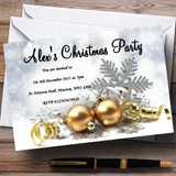 Gold Baubles Customised Christmas Party Invitations