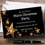 Gold Stars White Customised Christmas Party Invitations