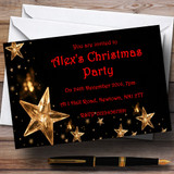 Gold Stars Customised Christmas Party Invitations