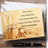 Gold Customised Christmas Party Invitations