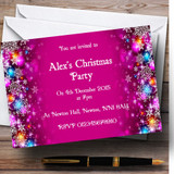 Pink Colourful Baubles Customised Christmas Party Invitations
